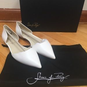 NEW Shoes of Prey Custom d'Orsay White Point Flats